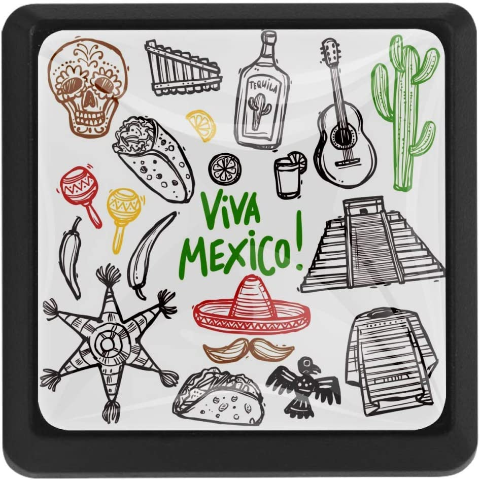 Shiiny 5 popular Mexico Doodle Set Bombing free shipping Square Drawer Handles Knobs Kit Pulls -