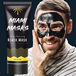 Miami Masks Blackhead Remover,Pore Control, Skin Cleansing, Purifying Bamboo Charcoal, Peel Off Facial Black Mask.1 bottle(1.69 fl. oz)