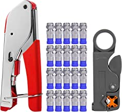 Coax Cable Crimper, Coaxial Compression Tool Kit Wire Stripper with F RG6 RG59 Connectors (Updated Module)