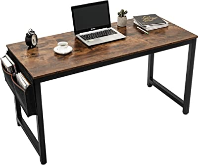 55'' Computer Desk Sturdy Office DeskComputer Writing Desk with Storage Bag and Hook Industrial Style Vintage PC Laptop Notebook Study Writing Table for Home Office Workstation