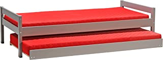 Weber Industries 239044Z Justin Lit Gigogne avec Sommier Laqué Gris Taupe 209 x 99 x 56,5 cm