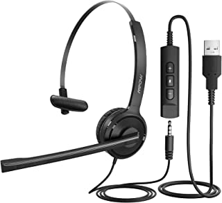 Mpow Single-Sided USB Headset with Microphone, Over-The-Head Computer Headphone for PC, 270 Degree Boom Mic for Right/Left...
