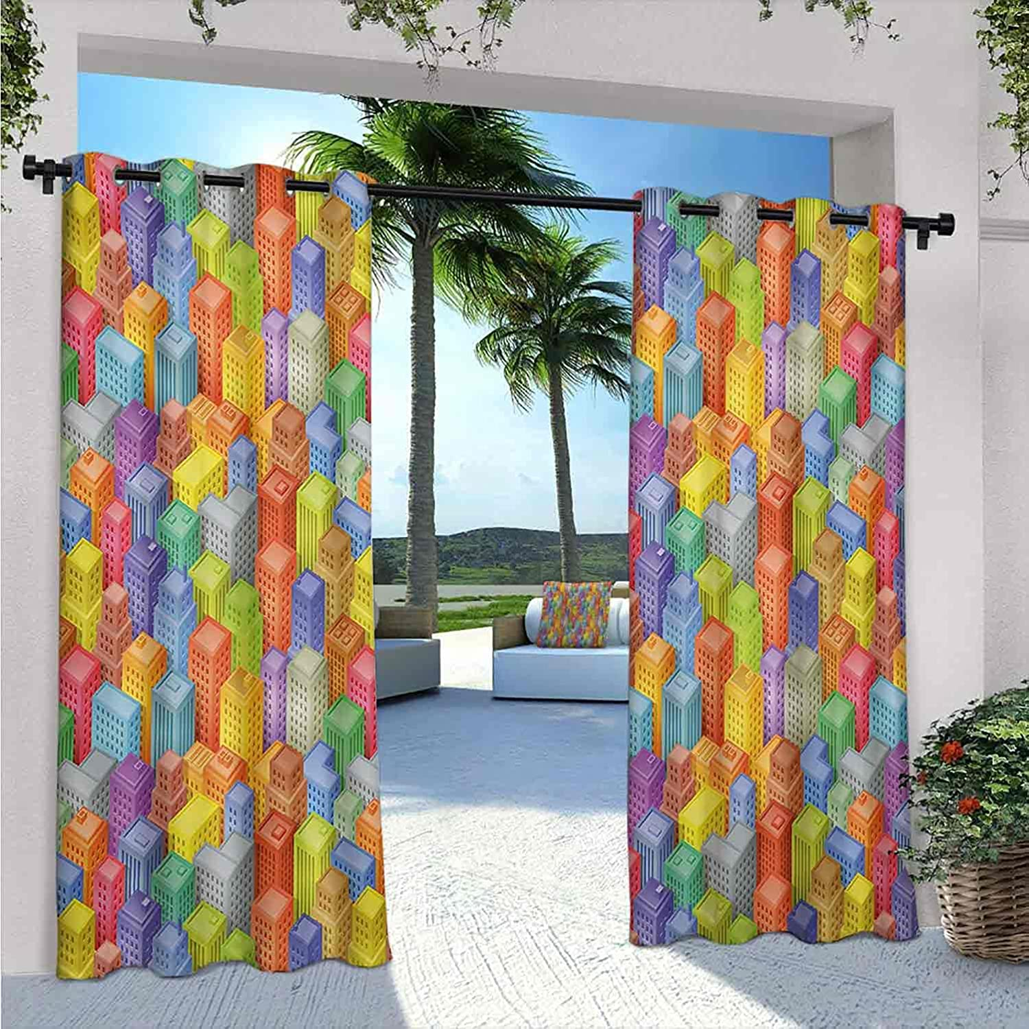 SEAL Challenge the lowest price of Japan ☆ limited product City Outdoor Patio Curtains Colorful with Skyscrapers I Cartoon
