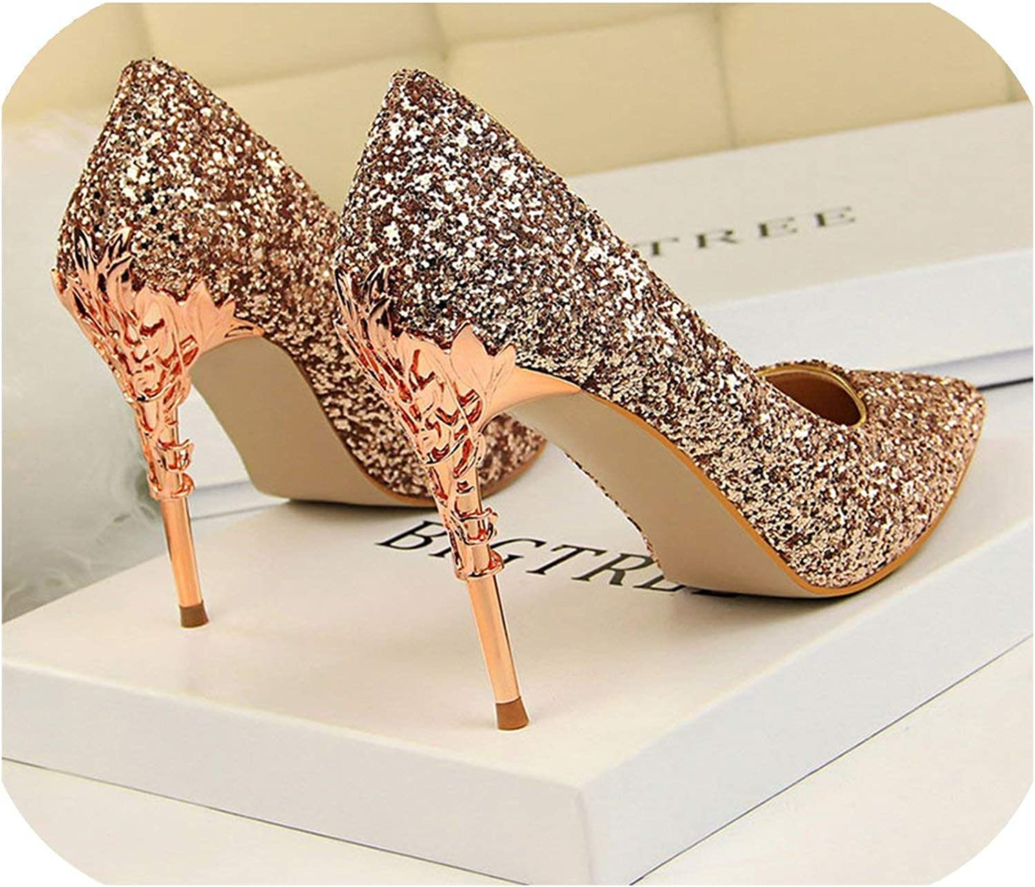 Women Pumps High Thin Heels Pointed Toe Metal Decoration Sexy Bling Bridal Wedding gold