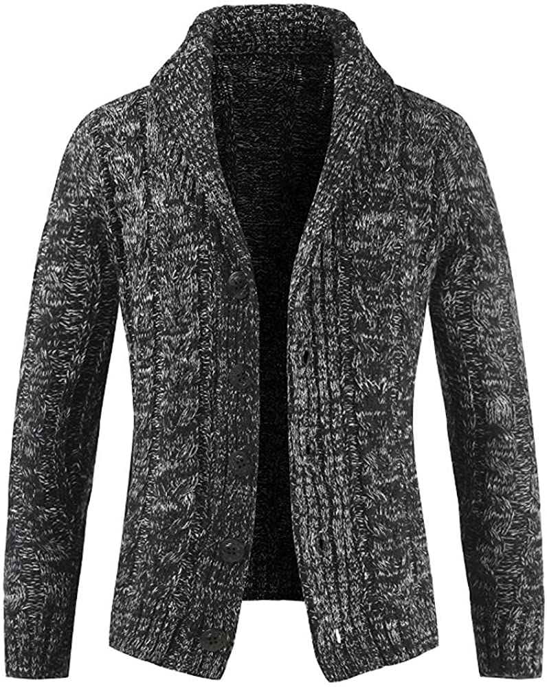 Men's Shawl Collar Cardigan Sweaters Button Down Cable Knit Jackets Slim Fit V Neck Chunky Sweaters Outerwear