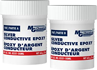 MG Chemicals 8331-50ML Silver Epoxy Adhesive - High Conductivity, 10 min working time, 115 g, 2-Part Epoxy Kit