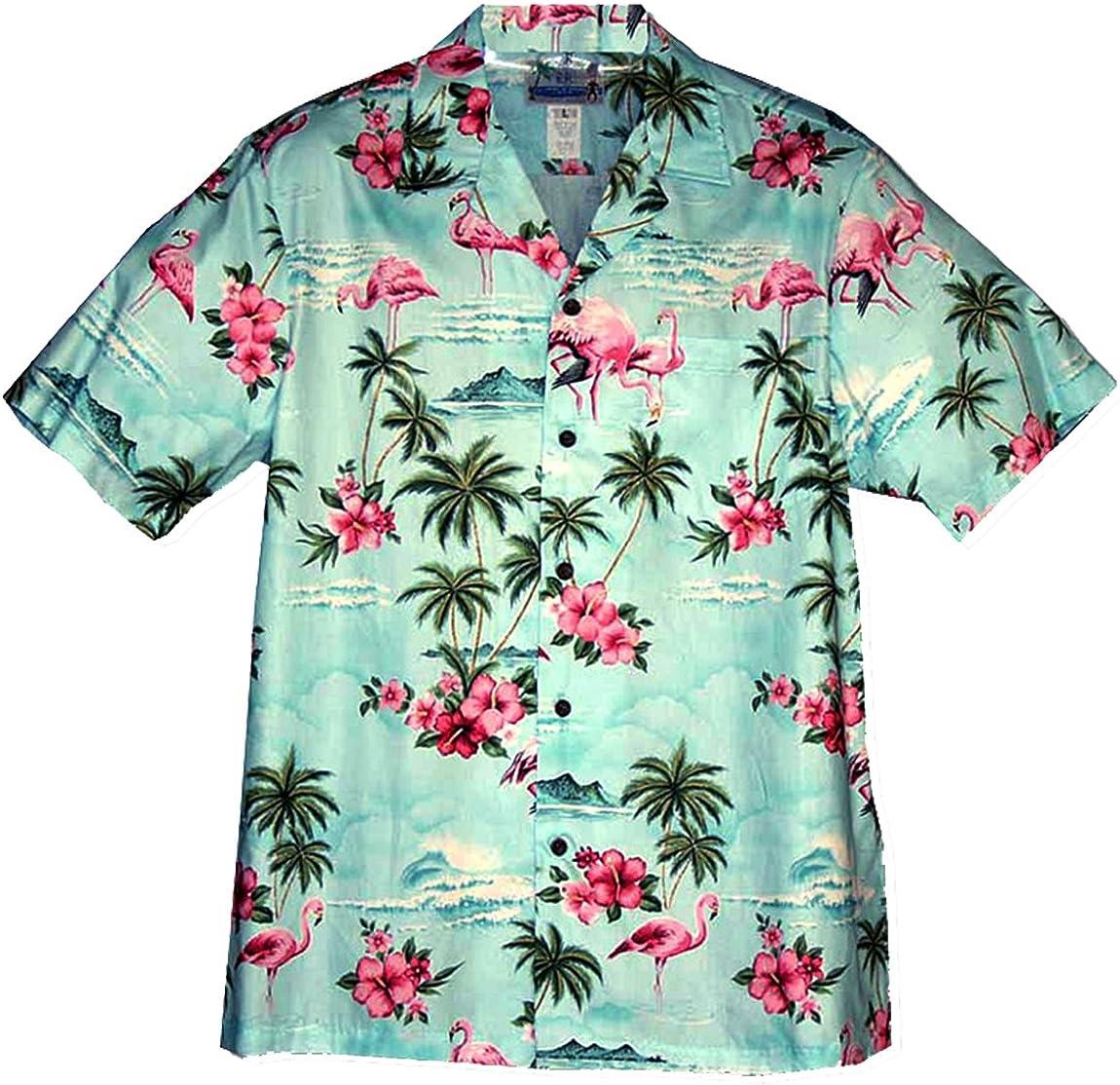 RJC Mens Mens Flamingo Hibiscus Shirt