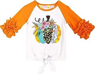 Baby Toddler Little Girls Fall Thanksgiving Halloween Ruffles Raglan T-Shirt Fashion Tee Top