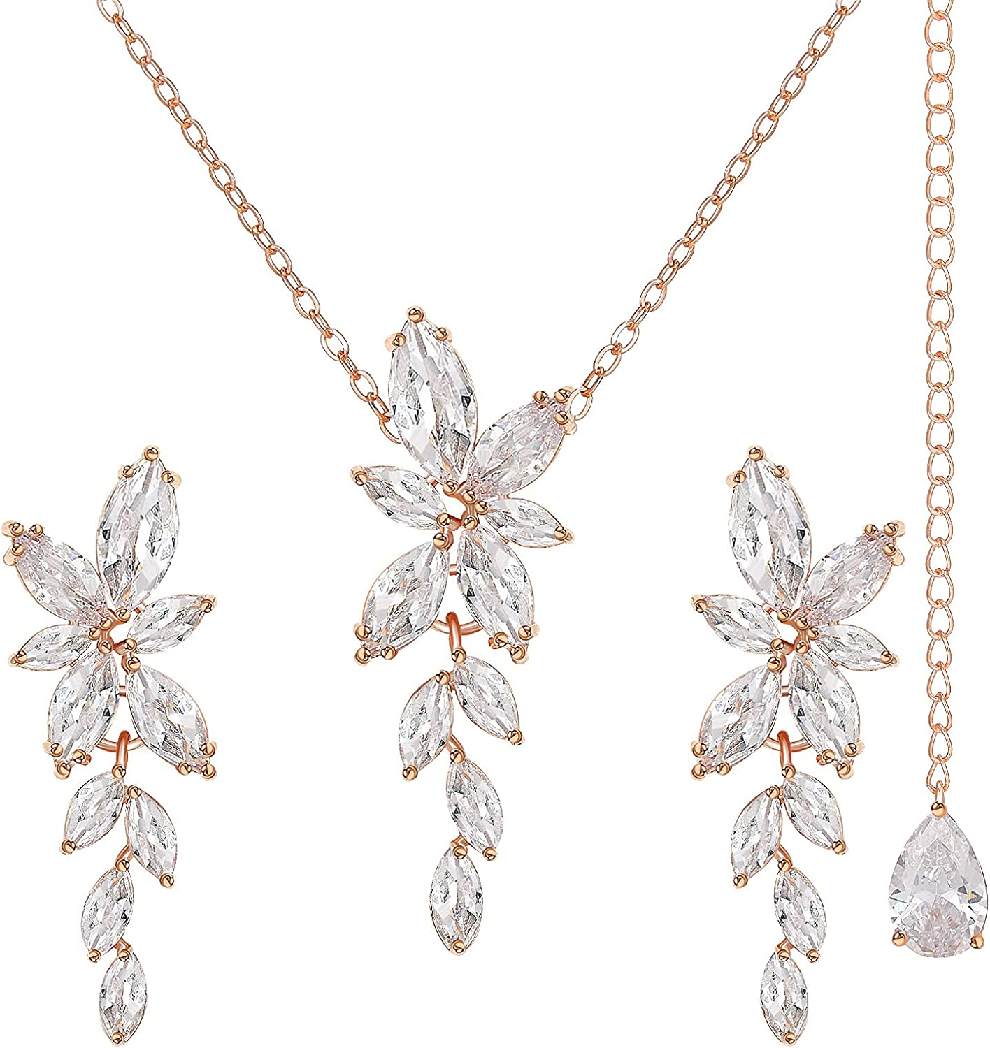 SWEETV Marquise Cubic Zirconia Wedding Jewelry Sets for Bridesmaids,Brides,Bridal Jewelry Sets for Wedding, Crystal Backdrop Necklace Dangle Earrings Sets for Women
