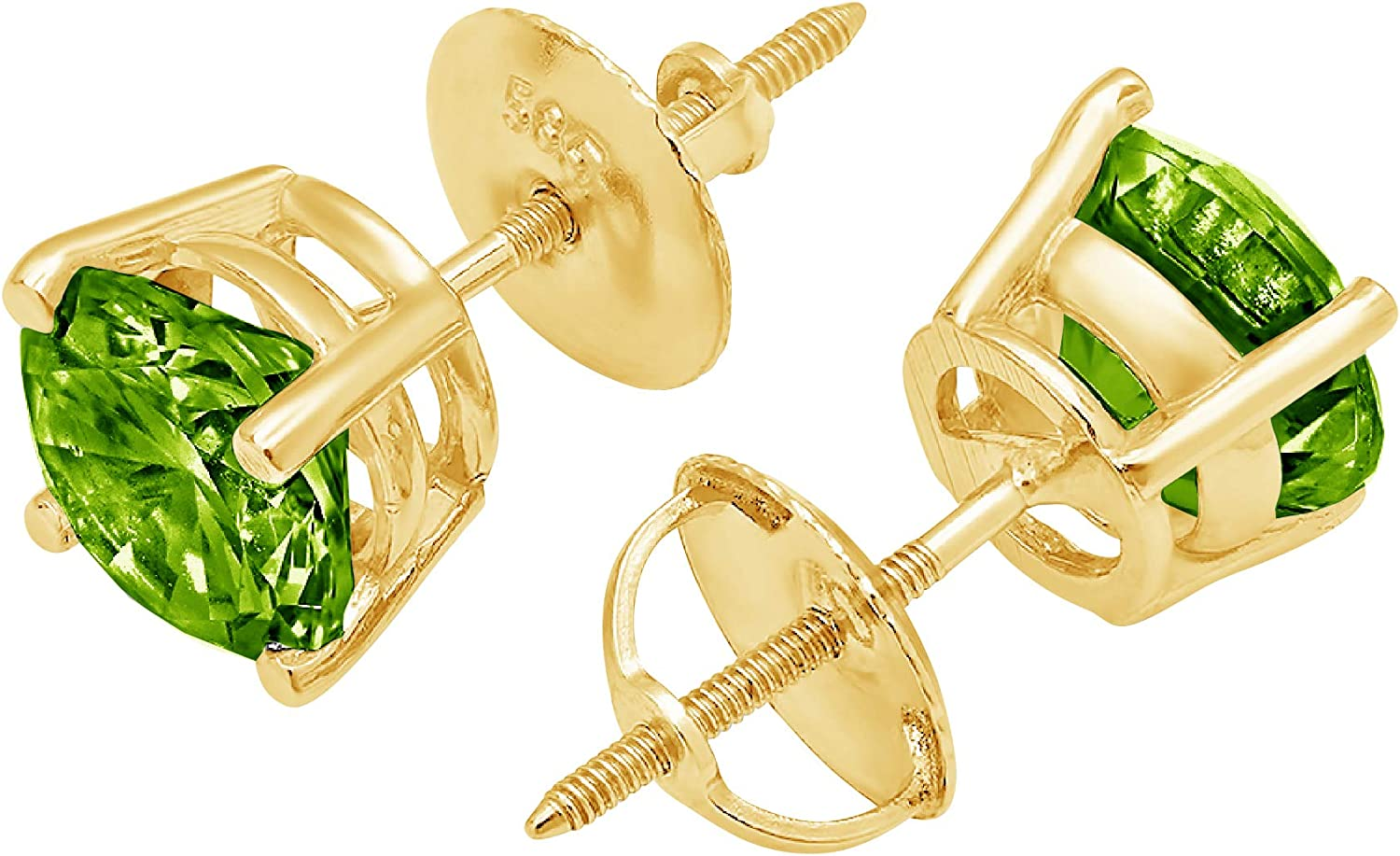 Clara Pucci 2.1 ct Brilliant Round Cut Solitaire VVS1 Fine Natural Green Peridot Gemstone Pair of Stud Earrings Solid 18K Yellow Gold Screw Back