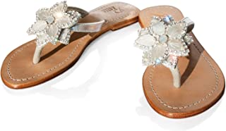 PASHA Gorgeous Jeweled Genuine Leather Shoes, Style Bora Bora Silver