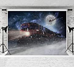 Art Studio 7x5FT Polar Express Christmas Themed Party Backdrop Vinyl Moon Decor Sledge Snowflake Photography backdrops Xmas Day Party Photo Background Birthday Party Banner Decoration