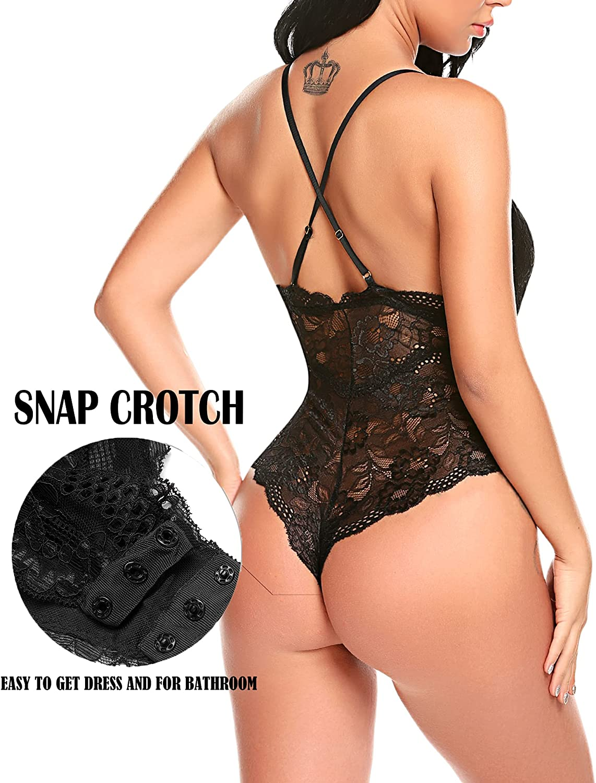 Avidlove Women Snap Crotch Lingerie Sexy Lace Bodysuit Deep V Teddy One Piece Lace Babydoll