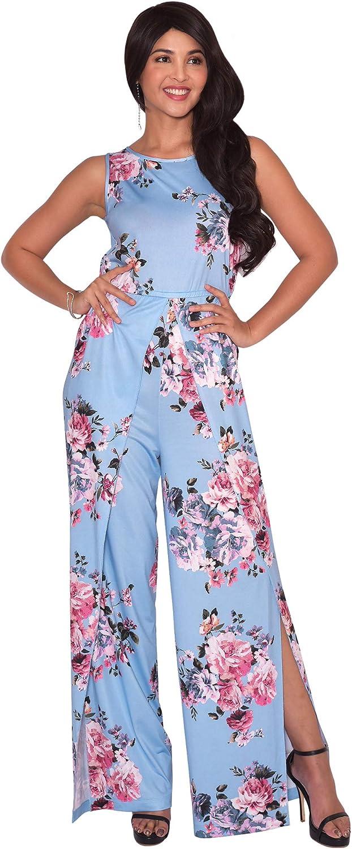 KOH KOH Womens Floral Print Sleeveless Wide Leg One Piece Romper Playsuit Jumper