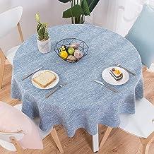 DAKEUR Nappe en Lin Coton Ronde Table de fête de Mariage Couverture Nordic thé café Nappe Maison Cuisine décoration Ciel B...