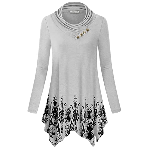 f9af24802f7 SeSe Code Women's Cowl Neck Long Sleeve Asymmetric Boho Floral Tunic Blouse (FBA)