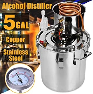Vanell Alcohol Moonshine Still 5GAL Brewing Stainless Steel Distiller Water Wine Alcohol Distiller Distilling Equipment Copper Tube Boiler (2 Pots, 5 Gallon/ 20L)