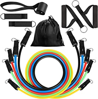 SEEHONOR Resistance Bands Set (11pcs), Workout Bands with Door Anchor, Handles, Ankle Straps and Carry Bag, Exercise Bands for Resistance Training, Stackable Up to 150 lbs