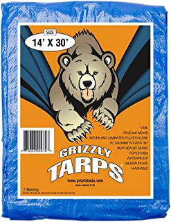 B-Air Grizzly Tarps 14 x 30 Feet Blue Multi Purpose Waterproof Poly Tarp Cover 5 Mil Thick 8 x 8 Weave