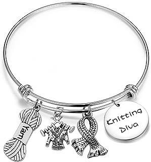 Gzrlyf Knitting Diva Bracelet Knitting Lover Bracelet Knitter Bracelet Crochet Bracelet Gift for Knitter Grandmother Gift Retirement Gift