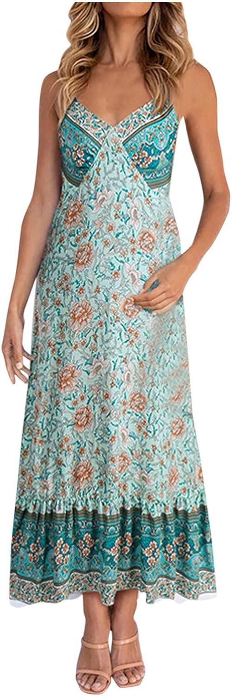 GOODTRADE8 Summer Dresses Maxi Dress Women's Casual Sweet Broken Flower Print Slim Camisole Dress Green