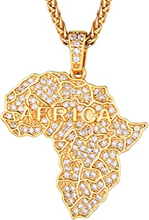 18K Gold/Platinum Plated Iced Out Africa Map/Broken Heart/Maple Leaf/Wave/Jesus/Praying Hands Pendent Necklace with Spiga Chain 22''+2''(Extended) Men Women Jewelry Hip Hop