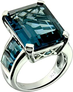 RB Gems Sterling Silver 925 Ring Genuine Gems Emerald-Cut 20x15 mm, Channel-Set Side-Stone Rhodium-Plated