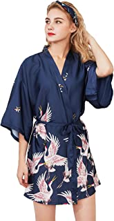 Lovacely Women's Satin Kimono Robes Crane and Blossoms Sleep Lounge Nightwear Bride Bridesmaid Wedding Short Dressing Gown
