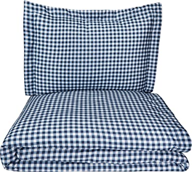 AmazonBasics Microfiber 2-Piece Quilt/Duvet/Comforter Cover Set - Single (66x90-inch), Gingham Plaid - with pillow cover