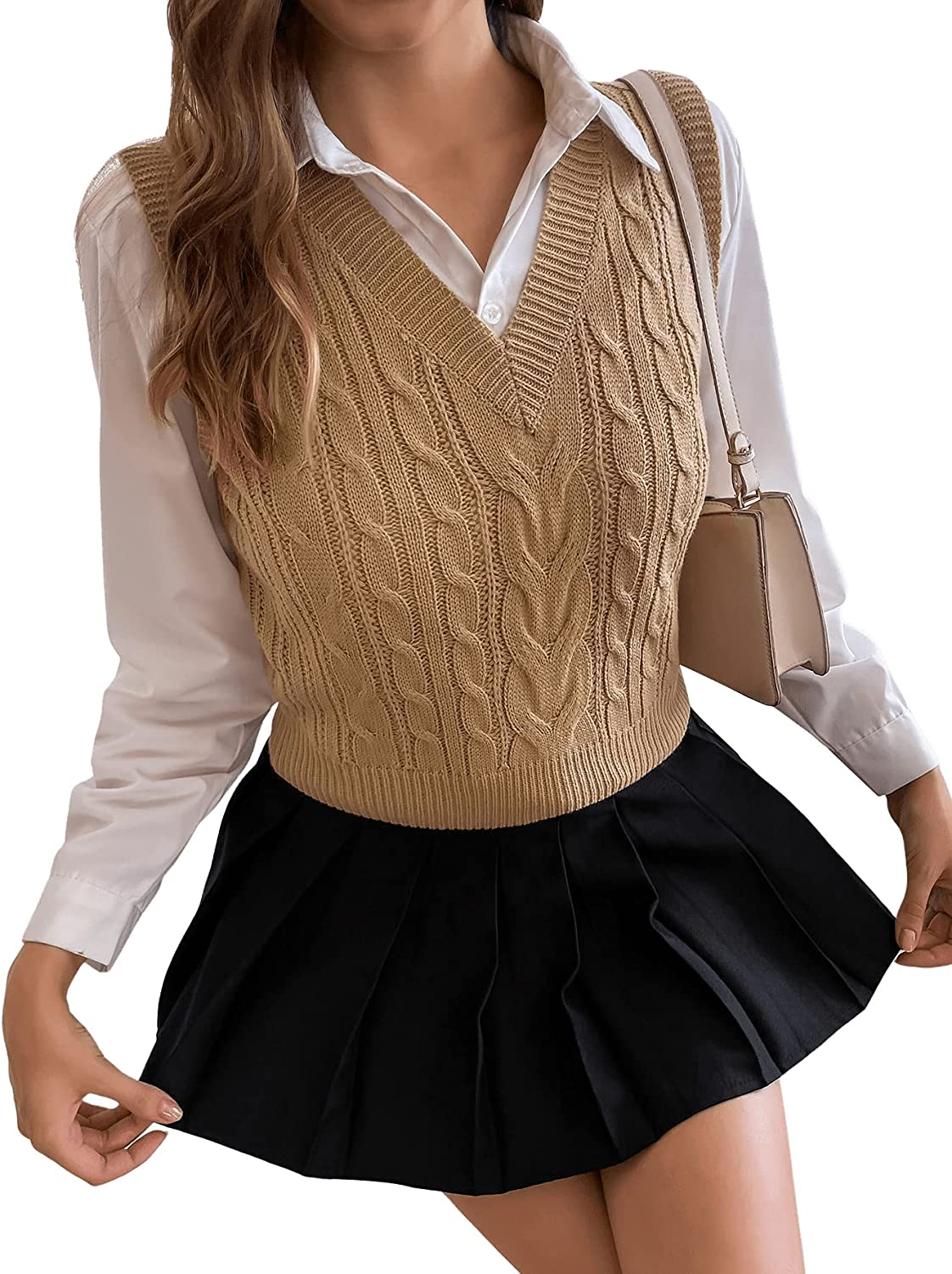SweatyRocks Women's Solid Cable Knit Sweater Vest Without Blouse