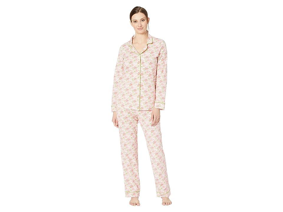 BedHead Pajamas Long Sleeve Classic Notch Collar Pajama Set (Flower Bed) Women