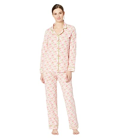 BedHead Pajamas Long Sleeve Classic Notch Collar Pajama Set (Flower Bed) Women