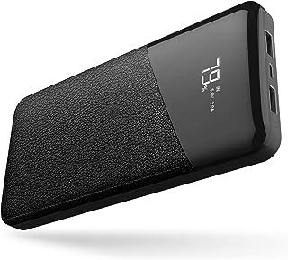 モバイルバッテリー 24000mAh 大容量 【PSE認証済】急速充電 2USB出力ポート LCD残量表示 iPhone/iPad/Android機種対応(ブラック)