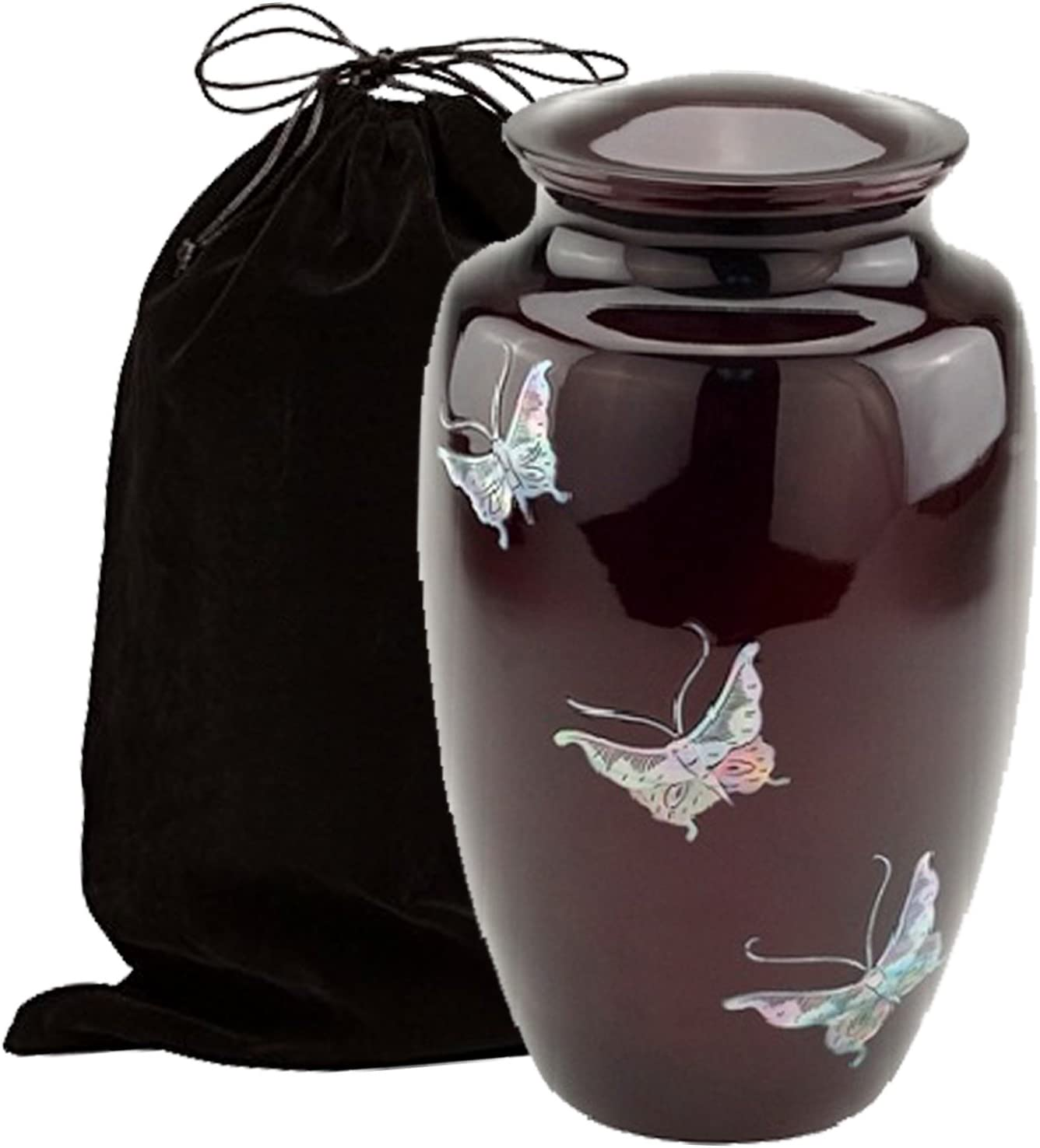 Burgundy Butterfly Mother Over item handling of Pearl wi Urn Discount mail order Cremation Inlaid Metal
