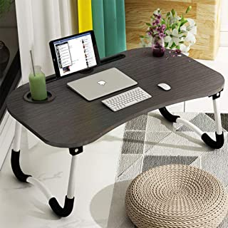 Astory Laptop Desk, Portable Laptop Bed Tray Table Notebook Stand Reading Holder with Foldable Legs & Cup Slot for Eating Breakfast, Reading Book, Watching Movie on Bed/Couch/Sofa (Black)