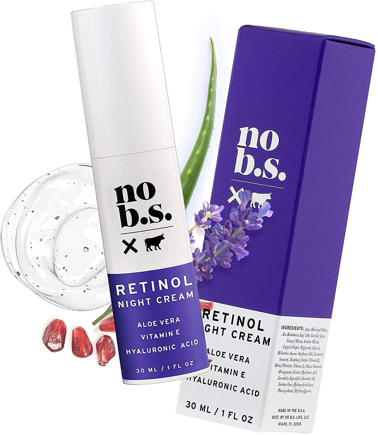 No B.S.Retinol Cream for Face E Acid Hyaluronic Boston Mall with NEW before selling Vitamin