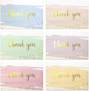 Thank You Cards, TODWALK Box of 48 (6 Colors, 8 of Each) Painted Watercolor Note Cards with Envelopes, Blank Greeting Cards for All Occasion, Birthdays, Weddings, Baby Shower, Anniversary, Appreciatio