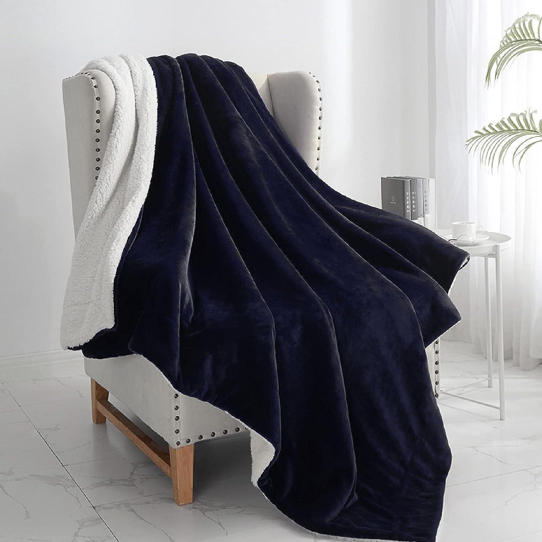 "Walensee Sherpa Fleece Financial sales sale Blanket King T 108""x90"" Navy Max 80% OFF Size Plush"