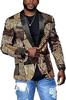 Taoliyuan Mens Suit Blazer Jacket African Slim Fit Shawl Collar Tribal Dashiki One Button Prom Coat
