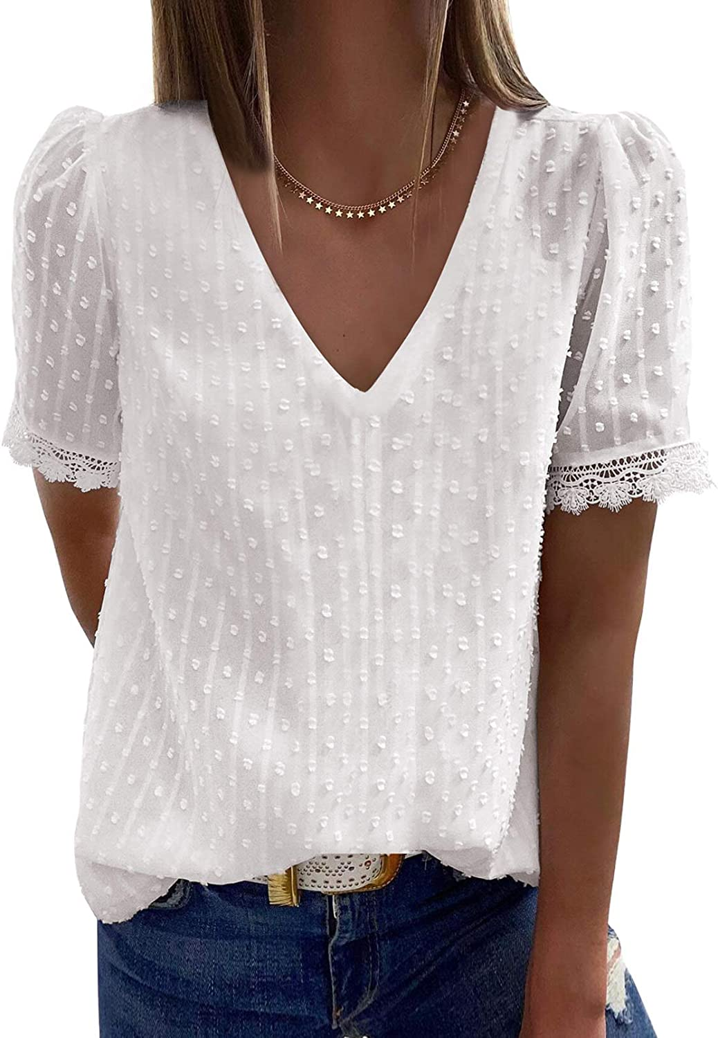 Diukia Women's Summer Button V Neck Lace Crochet Eyelet Blouse Tops Casual Short Sleeve Solid Color Shirts Blouses
