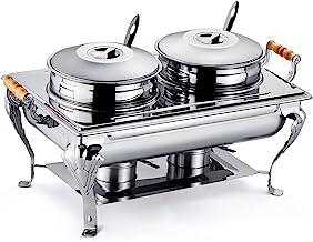 9L Taille Réelle Serveur De Buffet De Soupe, Acier Inoxydable Réchaufeur D'aliments Table À Vapeur Avec 2 Pots Ronds, 2 Lo...
