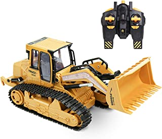 VAlinks Bulldozer Toy RC Excavator 1/12 5 Channel 2.4Ghz Remote Control Tractor Car Toy Construction Vehicles Sand Digger Kids Toy for Kids
