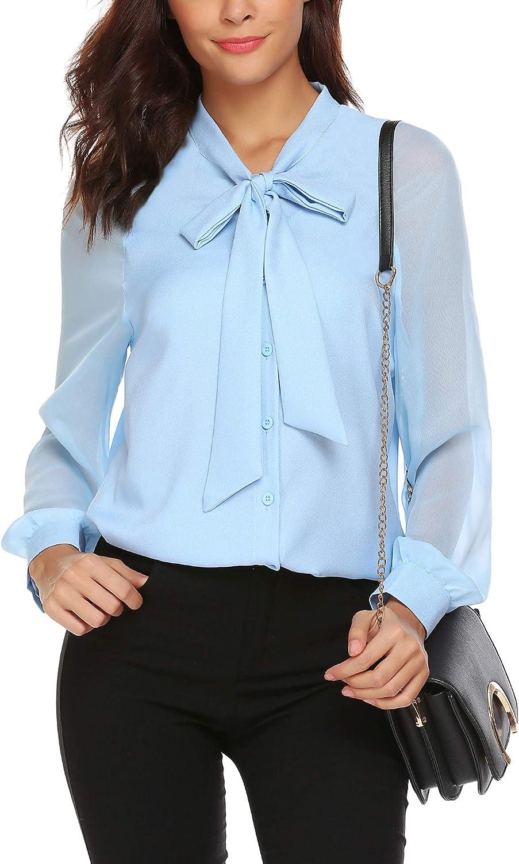 LOMON Chiffon Blouse Shirts,Casual Chiffon Shirts Blouses,Ladies Flannel Shirt Light Blue