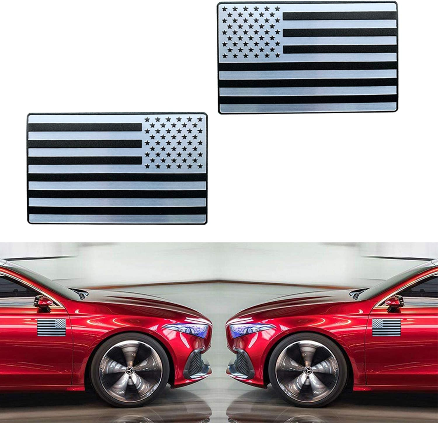 CARSA USA American Flag Decal Sticker Auto Emblem for Car Truck Forward and Reverse Set of 2