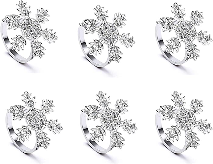 LogHog Bling Christmas Snowflake Napkin Rings Set of 6,Silver Rhinestone Napkin Buckles Rings,Ideal Table Setting Decor for Christmas Wedding Parties Holiday. (Silver Snowflake)
