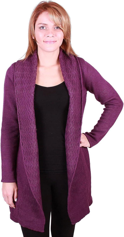 Leo & Nicole Women's Long Sleeve Knit Open Cardigan with Shawl Collar (Small, Purple)