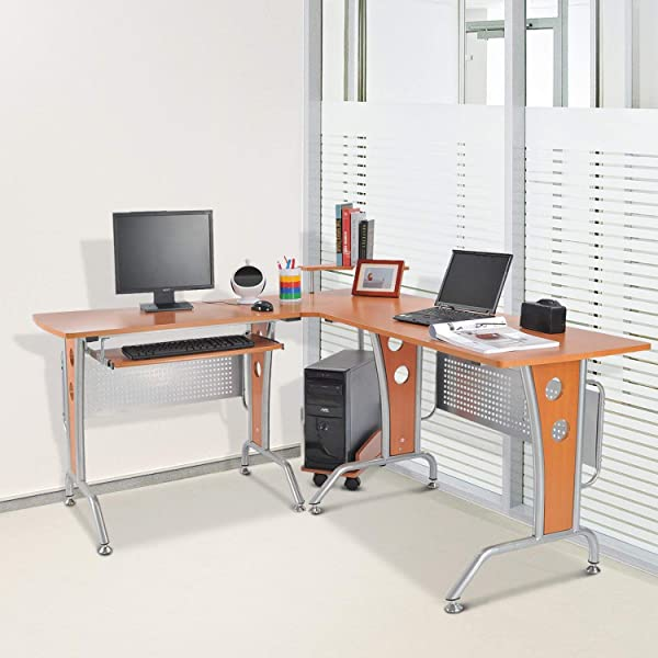 Godyluck Modern L Shaped Computer Desk Home Office Glasstop PC Laptop Corner Desk Workstation With Slide Out Keyboard Tray And CPU Stand Gaming Table Wood Grain Color