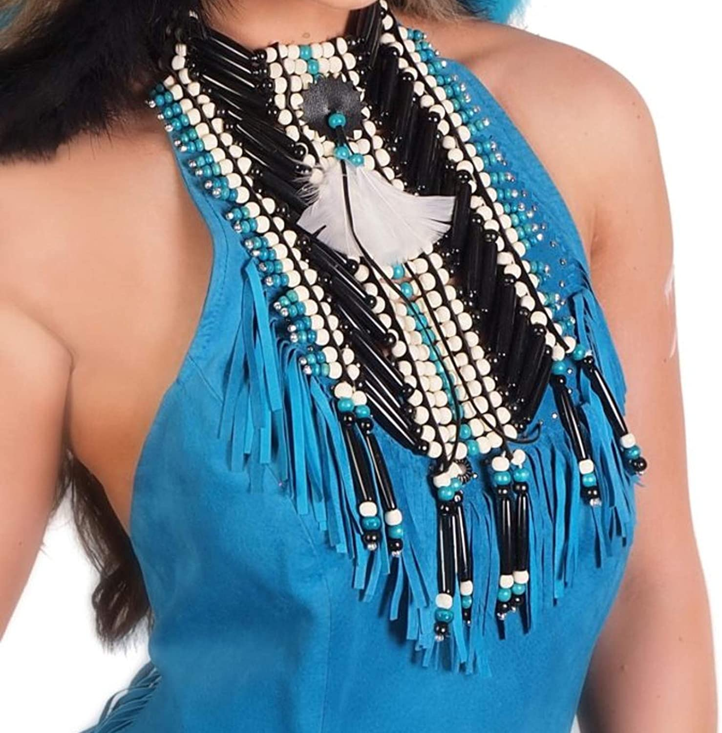 Chest Plate Indian Pipes Breast Plate Choker Bone Style Necklace Native American Costume Southwestern