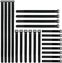 """Reusable Fastening Cable Straps and Cable Ties Set 24 Pack(8""""-12""""-18""""-24""""), YiwerDer Adjustable Hook Loop Cord Management Wire Organizer Straps"""