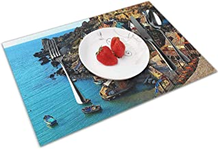 POQQ Placemats for Dining Table Anchor Bay Malta, Washable Easy to Clean PVC Placemat, Heat Resistand Kitchen Dinner Table Mats 12x18 Inches Set of 4